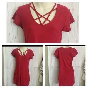 EUC·Super soft red strappy short t shirt dress